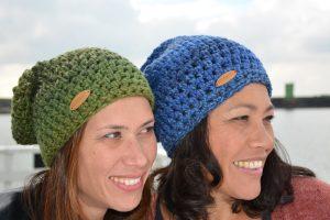 Stobbies beanies groen en blauw gemeleerd